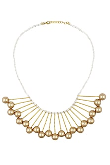 Gold finish pearl string necklace with gold pearl drops by Finura By Richa