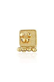 Gold finish ghungroo bead drops adjustable ring by Finura By Richa