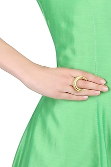 Gold finish crescent shaped moonstruck adjustable ring by Finura By Richa