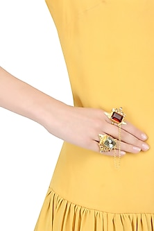 Gold finish double finger red and gold zircon stones studded ring harness by Finura By Richa