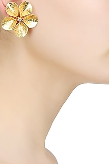 "Gold Finish Cut Out ""Fleura"" Stud Earrings by Finura By Richa"