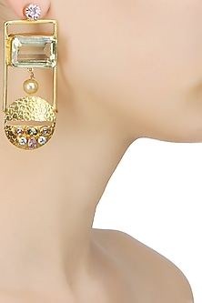 Gold Finish Textured Round Stud Earrings And Rectangular Shaped Cut Out Pearl Drop Danglers Set by Finura By Richa