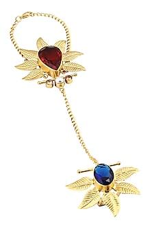 """Gold Finish Korean Leaf Motifs """"Leafy Heart"""" Hand Harness by Finura By Richa"""
