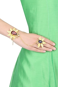 "Gold Finish Korean Leaf Motifs ""Leafy Heart"" Hand Harness by Finura By Richa"