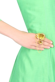 "Gold Finish Zircon Stones Studded "" Gracia "" Double Finger Ring by Finura By Richa"
