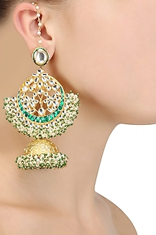 Gold Finish Green and Kundan Stones Earrings by Firdaus By Akshita