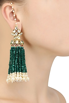 Gold Finish Kundan and Green Beads Earrings by Firdaus By Akshita
