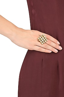 Gold Finish Kundan Square Ring by Firdaus By Akshita
