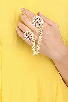 Gold Finish Pink and White Kundan Stone Ring by Firdaus By Akshita