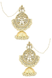 Gold Finish Kundan Studded Jhumki Earrings by Firdaus By Akshita