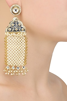 Gold Finish Kundan and Pearl Jaal Earrings by Firdaus By Akshita