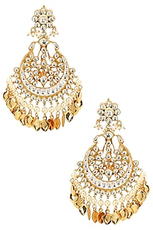 Gold Finish Kundan Studded Crescent Earrings by Firdaus By Akshita