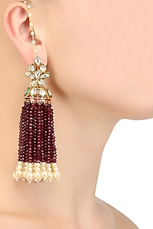 Gold Finish Pearl Drops and Tassel Hanging Earrings by Firdaus By Akshita