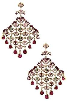 Gold Finish Semi Precious Stones Earrings by Firdaus By Akshita