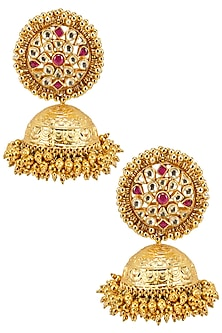 Gold Finish Pink and Kundan Stones Jhumki Drop Earrings by Firdaus By Akshita