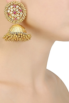 Gold Finish Pink and Kundan Stones Jhumki Drop Earrings