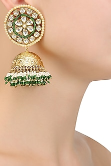 Gold Finish Kundan Studded Earrings