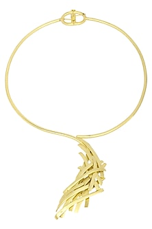 Antique Gold Finish Abstract Pendant Choker by Firdaus By Akshita