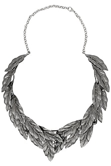Gunmetal Finish Textured Leaf Choker by Firdaus By Akshita