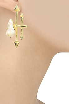 Gold Finish Baroque Pearl Arrrow Earrings