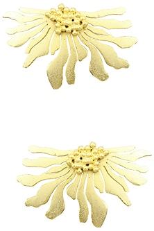 Gold Finish Half Flower Earrings by Firdaus By Akshita