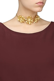 Gold Finish Textured Flower Choker Necklace by Firdaus By Akshita