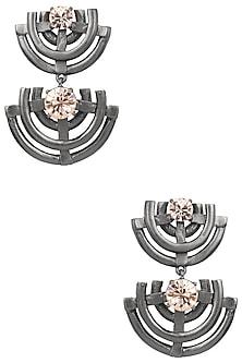 Gunmetal Finish Geometric Earrings by Firdaus By Akshita