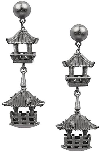 Firdaus By Akshita Gunmetal Hut Earrings