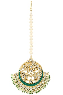 Gold Finish Kundan and Green Stone Crescent Maang Tikka by Firdaus By Akshita