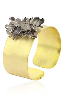Gold Finish Flower Cuff by Firdaus By Akshita