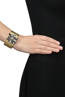 Gold Finish Flower Cuff