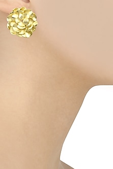 Matte Gold Finish Flower Studs