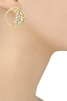 Gold Finish Swarovski Crystals Round Earrings by Firdaus By Akshita