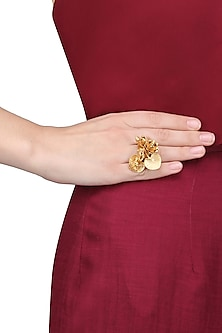 Matte Gold Finish 3D Flower Ring