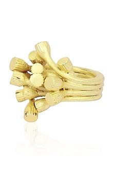 Matte Gold Finish 3D Bud Ring by Firdaus By Akshita