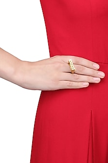 Gold Finish Moving Beads Statement Ring