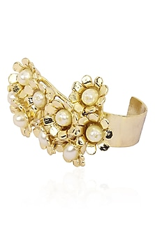 Matte Gold Finish Pearl Flower Ring by Firdaus By Akshita