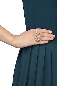 Matte Gold Finish Pearl Flower Ring