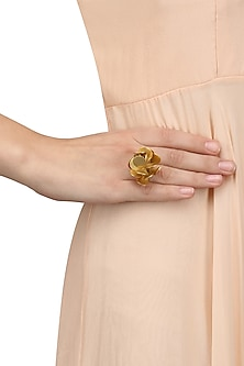 Gold Finish Flower Statement Ring by Firdaus By Akshita