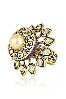 Antique Gold Finish Blue Zircons and Pearl Ring by Firdaus By Akshita