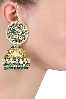 Gold Finish Green Beads and White Pearls Jhumki Earrings