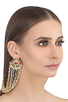 Gold Finish Multi Color Glass Stones Crescent Earrings by Firdaus By Akshita