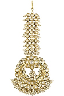 Gold Finish Kundan and Pearls Maang Tikka by Firdaus By Akshita