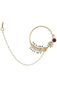 Gold Finish Green, Red Beads and Pearls Nose Ring Nath by Firdaus By Akshita
