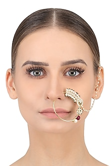 Gold Finish Green, Red Beads and Pearls Nose Ring Nath