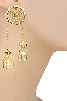Gold Finish Pearl Caged Wheel Earrings