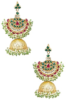 Gold Finish Crescent Jhumki Earrings by Firdaus by Akshita