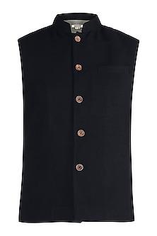 Black twill nehru jacket