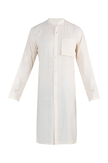 Cream open front kurta