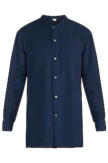Navy blue handloom shirt